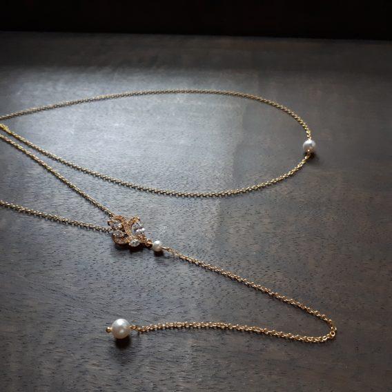 Charlotte - Collier avec bijou de dos mariage