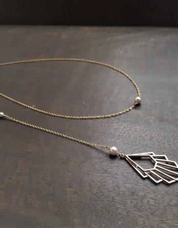 Art deco - Collier bijou de dos avec perles swarovski