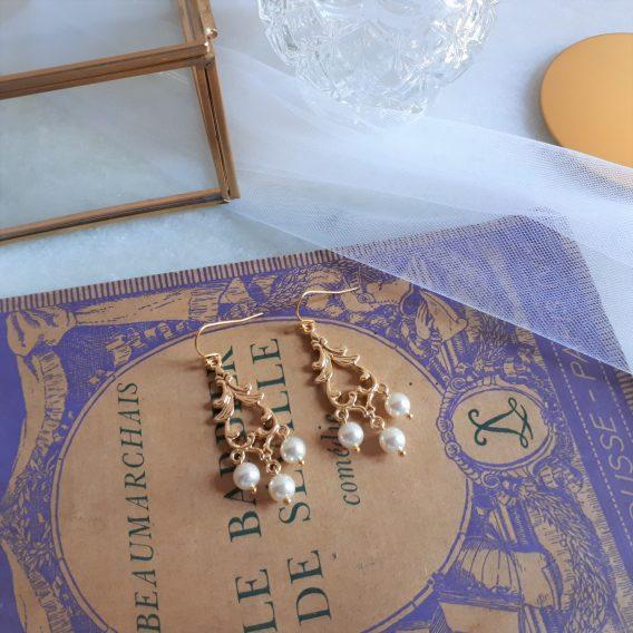 Athéna - Boucles d'oreilles mariage avec perles swarovski
