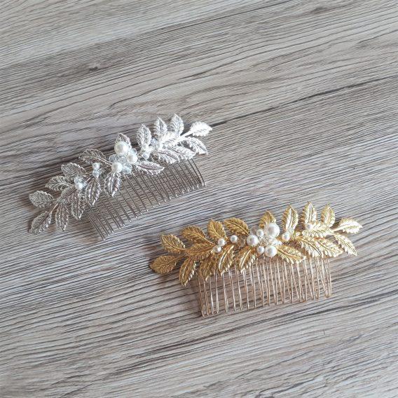 Louise – Peigne de mariée feuilles avec perles swarovski