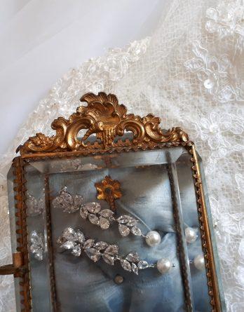 Inès - Longues Boucles d'oreilles mariage pendantes oxyde de zirconium avec perles swarovski