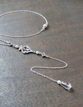 Agathe - Collier bijou de dos mariage avec perles swarovski