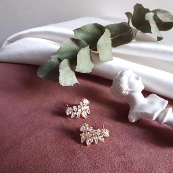 Solena - Boucles d'oreilles avec oxyde de zirconium pour mariage