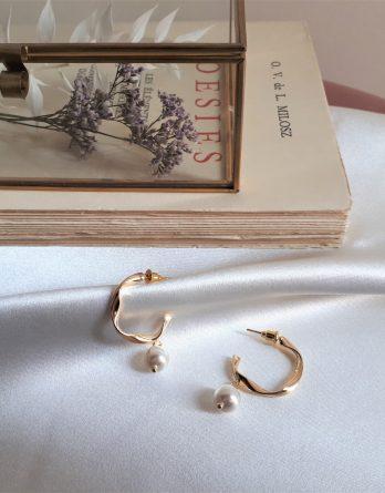 Lana - Boucles d'oreilles dorées avec perles swarovski
