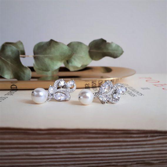 Charlotte - Boucle d'oreilles mariage plaqué Or rose ou plaqué Or blanc avec perles swarovski et zirconium