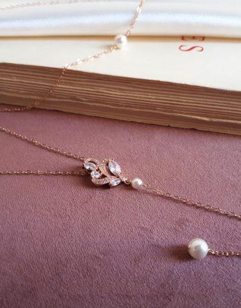 Charlotte - Collier de dos mariage rose gold filles 14 carats ou argenté platine eavec perles swarovski