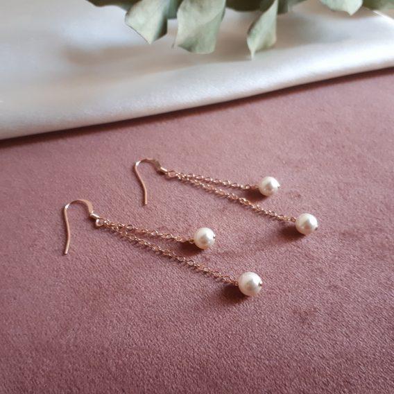 Gabrielle - Boucles d'oreilles avec perles swarovski - Argent 925, Gold filles 14 carats ou Rose gold filled 14 carats