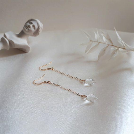 Yaël - Boucles d'oreilles en argent 925 ou gold filled 14 carats avec perles gouttes en cristal