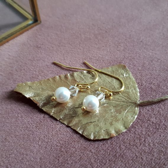 Tina - Boucles d'oreilles mariage avec perles poires ou rondes swarovski