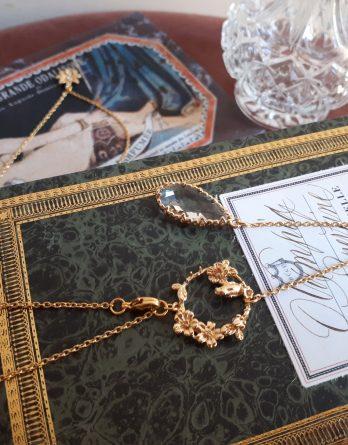 Jardin - Collier bijou de dos mariage plaqué Or 24K pendentif fleuri et goutte d'eau cristal