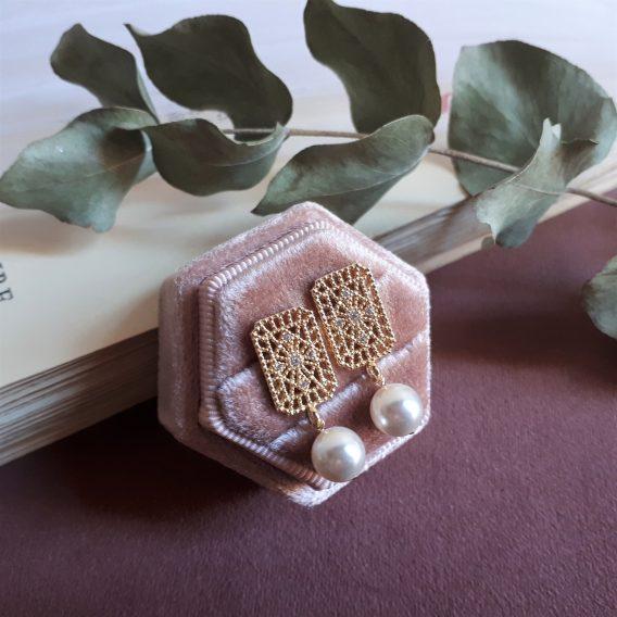 Vendôme - Boucles d'oreilles puces art déco avec perles swarovski et zirconium