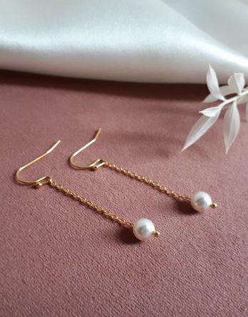 Lou - Boucles d'oreilles mariage minimaliste avec perles swarovski