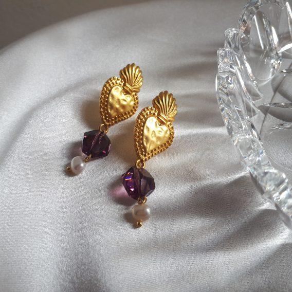 Cœur Rayonnant - Boucles d'oreilles cœur vintage avec cristal swarovski violet et perles d'eau douce