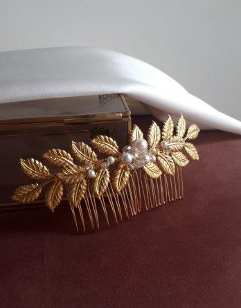 Leonie - Peigne de mariée feuilles bohème et retro chic avec perles swarovski