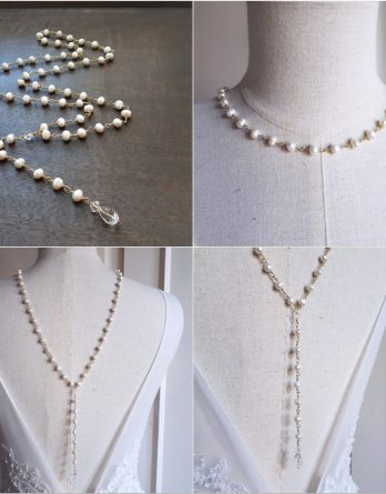 Adelaide - Collier de dos mariage avec perles d'eau douce