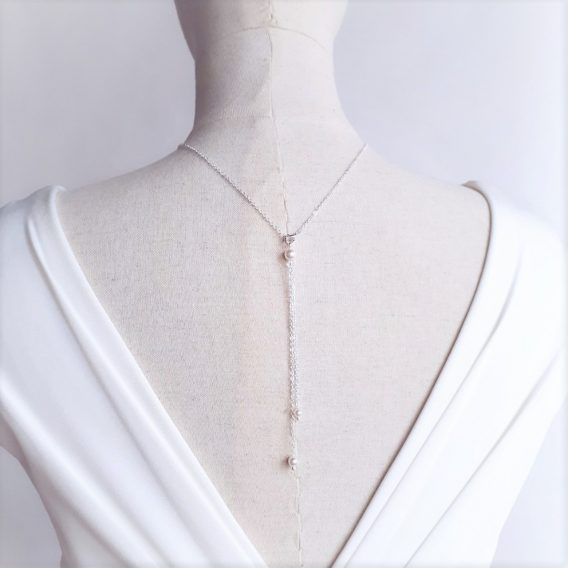 Alice - Collier avec bijou de dos mariage avec perles Swarovski