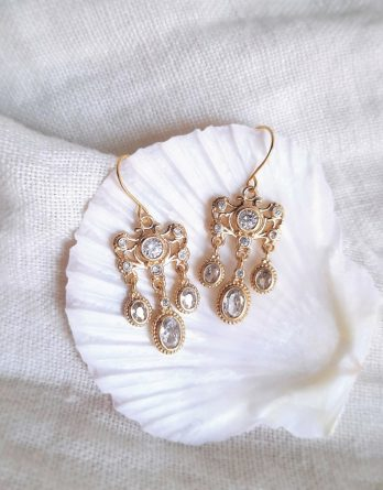 Aliénor - Boucles d'oreilles chandeliers style art nouveau plaqué Or 24K