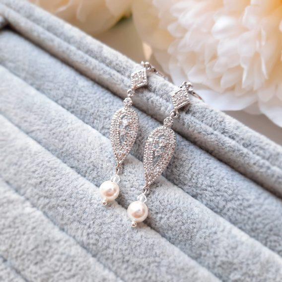 Alix - Boucles d'oreilles mariage chic et élégant avec zircon et perles Swarovski