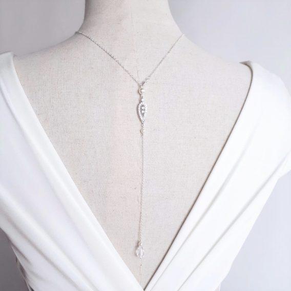 Alix - Collier bijou de dos mariage avec perles Swarovski