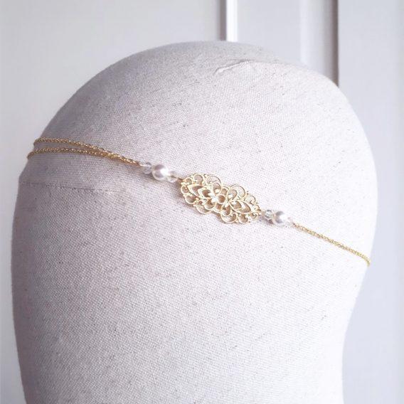 Anaïs - Headband mariage champêtre retro avec perles Swarovski