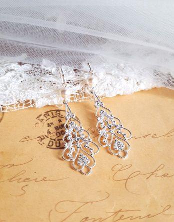 Anastasia - Boucles d'oreilles mariage retro chic et élégant avec Perles Swarovski
