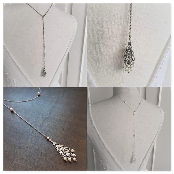 Anastasia - Collier bijou de dos mariage avec perles swarovski