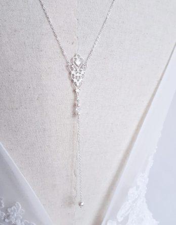 Anastasia - Collier de dos mariage retro chic et élégant avec perles Swarovski
