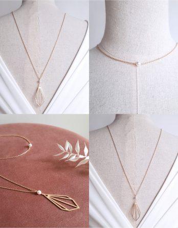 Art déco - Collier de dos mariage pendante plaqué Or 24K avec perles swarovski