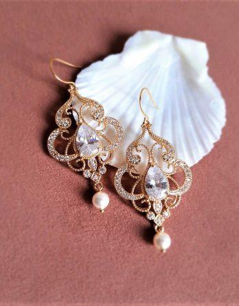 Astrée - Boucles d'oreilles mariage plaqué Or avec zircons et perles Swarovski
