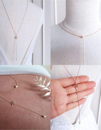 Astrid - Collier de dos mariage simple élégant avec perles swarovski