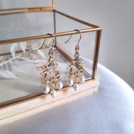 Athéna - Boucles d'oreilles mariage hypoallergénique plaqué Or avec perles swarovsk