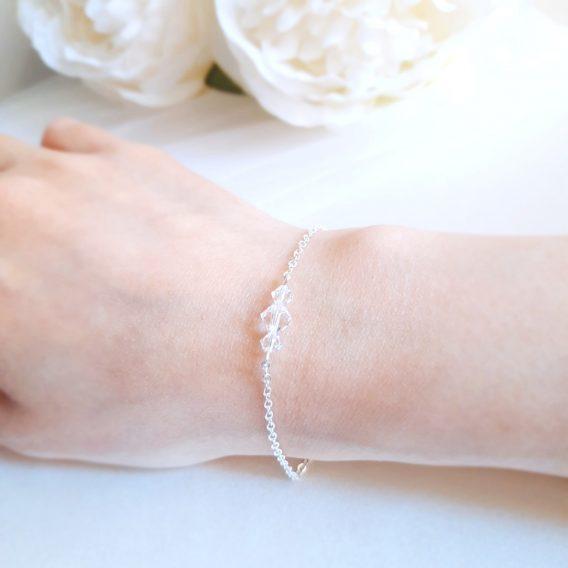 Aurore No.2 – Bracelet mariage avec cristal Swarovski pour mariée et demoiselle d'honneur