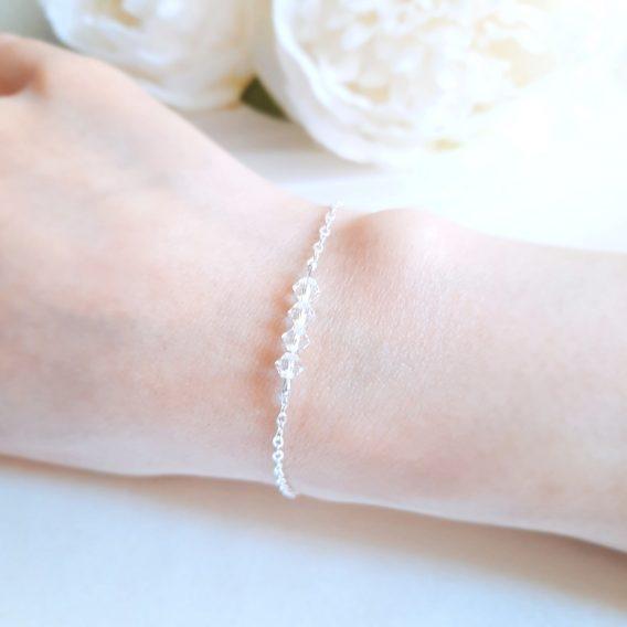 Aurore No.3 – Bracelet mariage avec cristal Swarovski pour mariée et demoiselle d'honneur