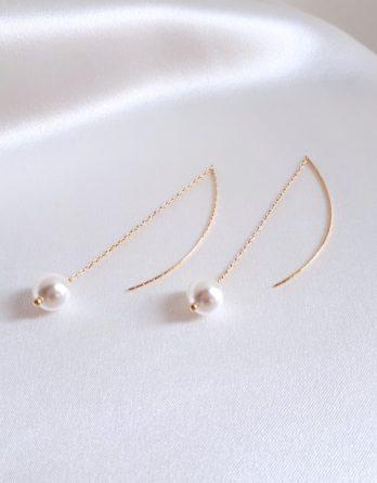 Ayla - Boucles d'oreilles minimaliste chaînes fine et tiges avec perles swarovski