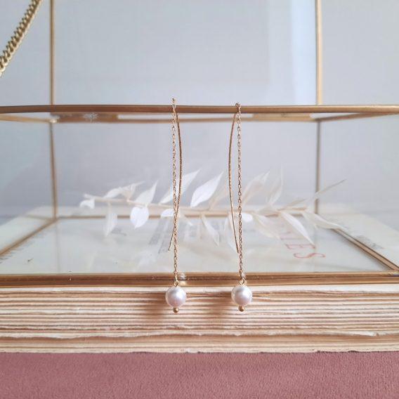 Ayla - Boucles d'oreilles minimaliste chaînes avec tiges et perles swarovski