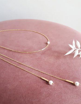 Ayla - Collier de dos mariage minimaliste avec pendentifs tiges et perles swarovski