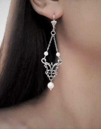 "Boucles d'oreilles mariage ""Lilas"" avec perles swarovski"
