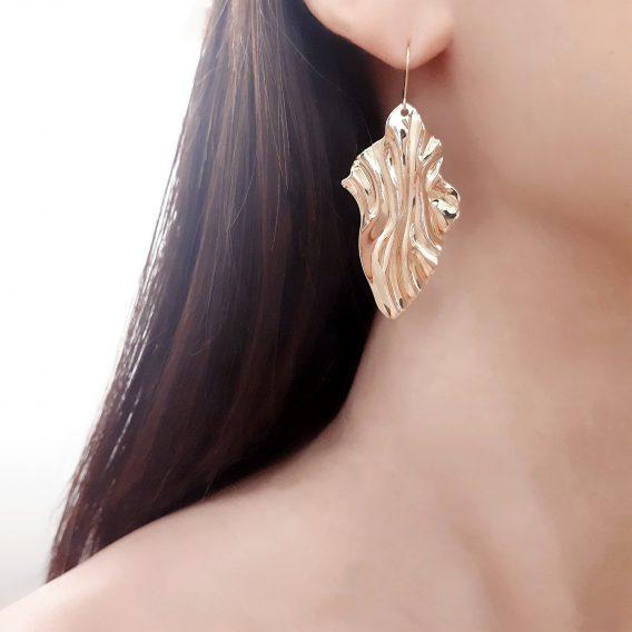 Venus - Boucles d'oreilles mariage minimaliste plaqué Or 24K