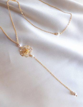 Fleur - Collier de dos mariage pendentif fleur champêtre chic avec perles swarovski