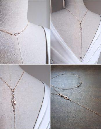 Cécilia - Collier avec bijou de dos mariage gold filled 14 carats avec perles swarovski