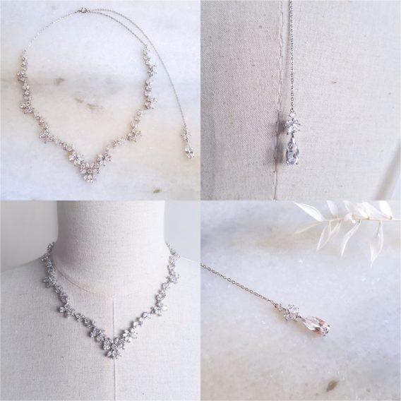 Célestine - Collier avec bijou de dos avec pendentif goutte d'eau oxyde de zirconium