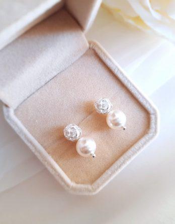 Camélia - Boucles d'oreilles mariage fleur avec perles Swarovski