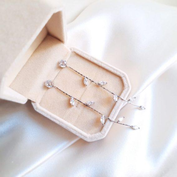 Candice - Boucles d'oreilles solitaire avec chaîne longue zircon marquise