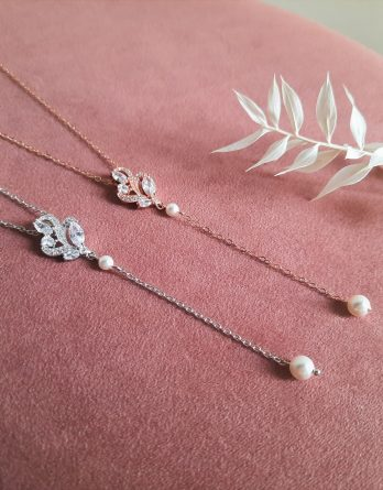 Charlotte - Collier de dos mariage rose gold filled 14 carats ou argenté platine avec perles swarovski