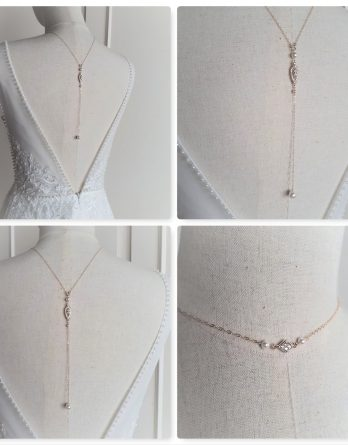 "Collier avec bijou de dos mariage ""Sybil"" Gold filled 14k avec perles swarovski"
