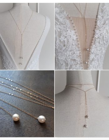Gabrielle - Collier bijou de dos mariage avec perles swarovski- Collier bijou de dos mariage avec perles swarovski
