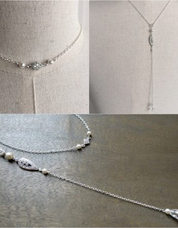 Alix – Collier bijou de dos mariage avec perles swarovski
