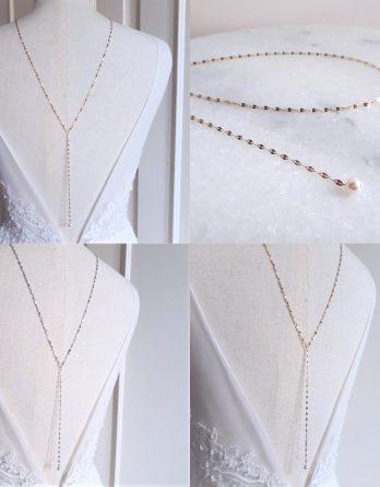 Aurélia - Collier de dos mariage en acier inoxydable plaqué Or 18K avec perles swarovski