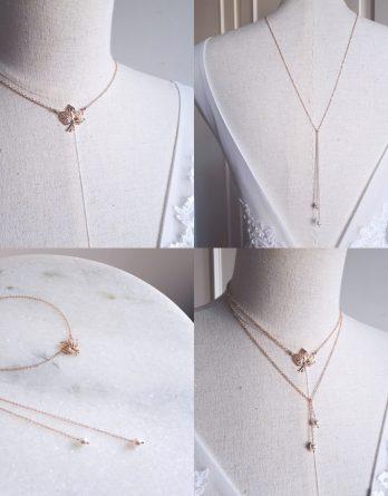 Léa - Collier de dos mariage avec perles swarovski