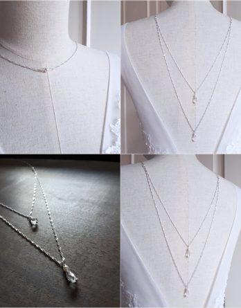 Luna - Collier de dos mariage avec perles swarovski